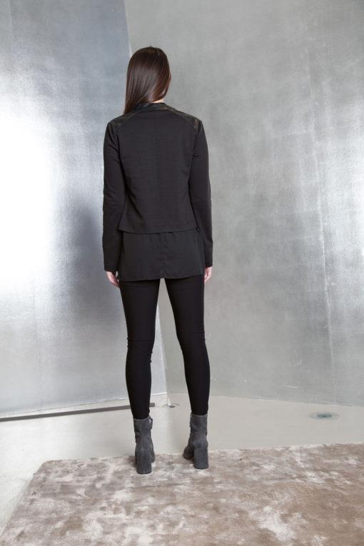 black faux leather overlay jacket- back