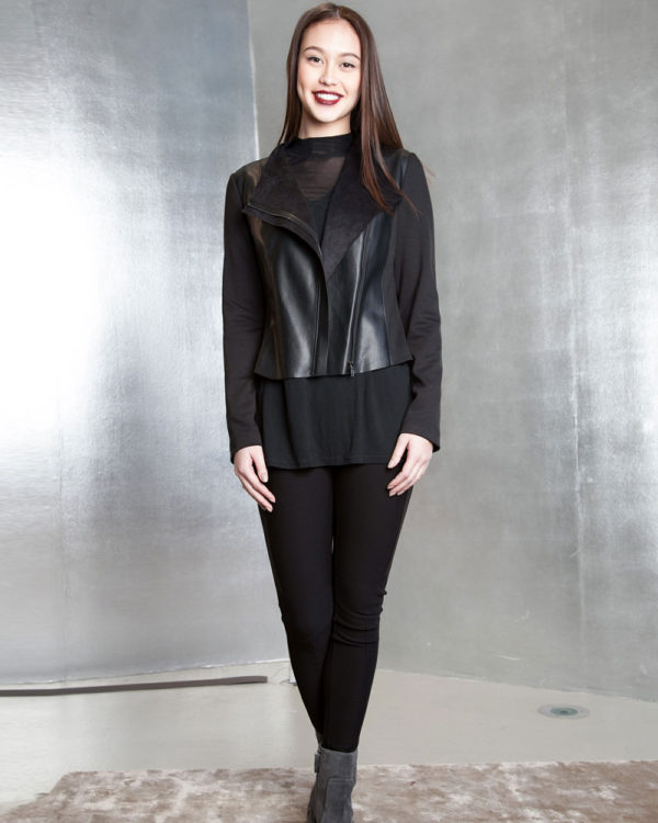 black faux leather overlay jacket- front