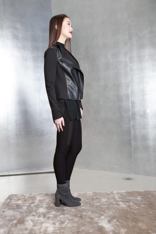 black faux leather overlay jacket- side