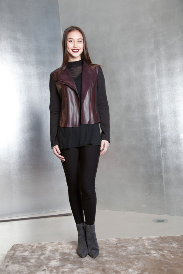 brown faux leather overlay jacket- front