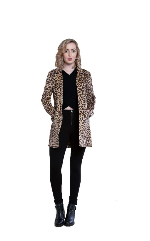 beige animal print jacket- front