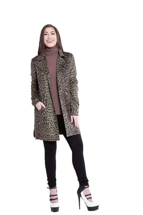 olive animal print jacket- front