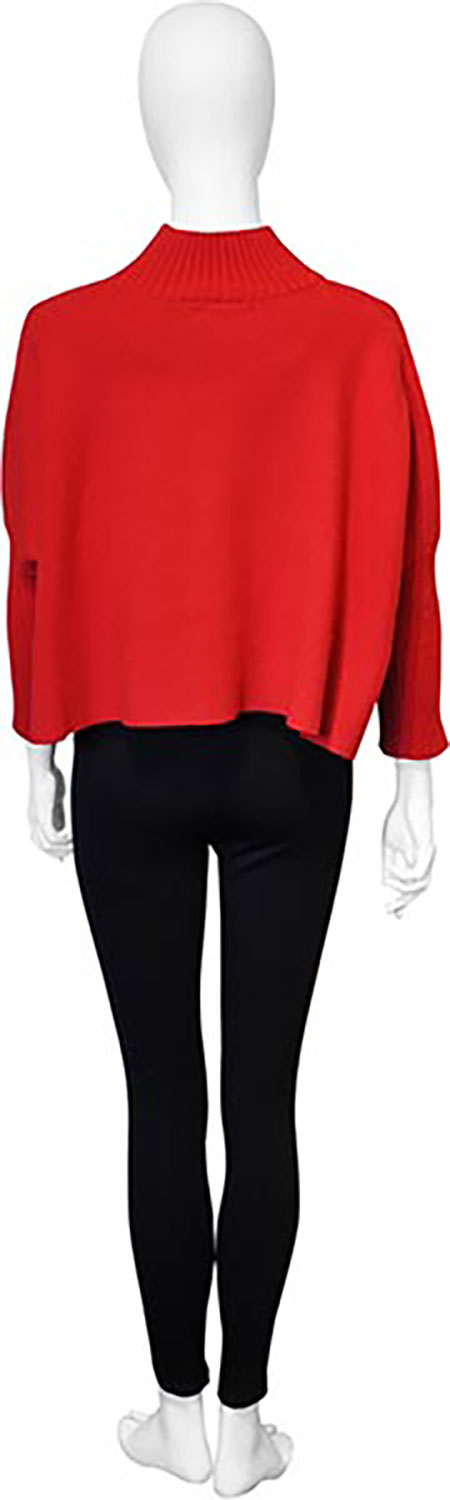 cropped knit red sweater- back