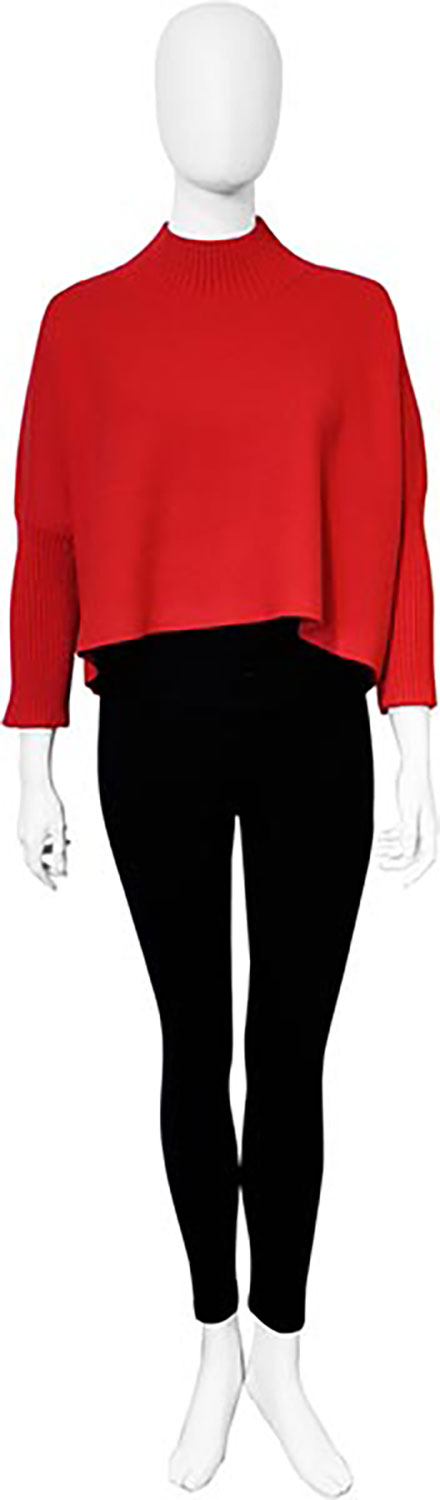 cropped knit red sweater- front