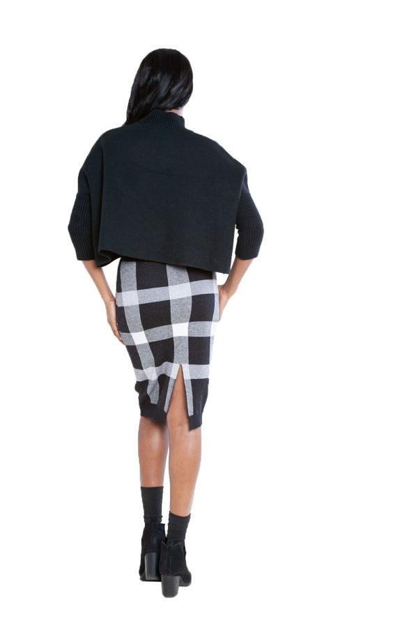black plaid knit skirt- back