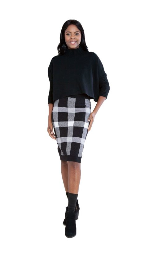 black plaid knit skirt- front