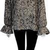 black leopard blouse- front