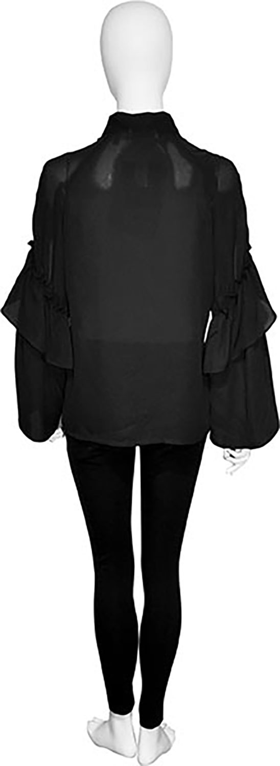 tie front black blouse- back