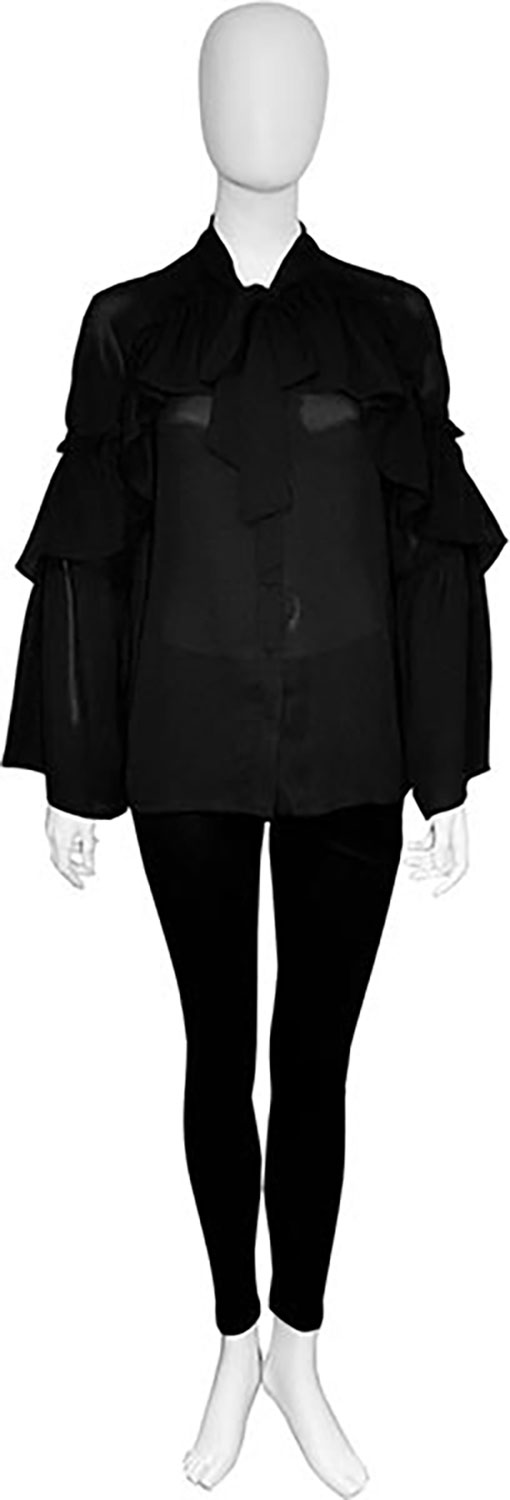 tie front black blouse- front