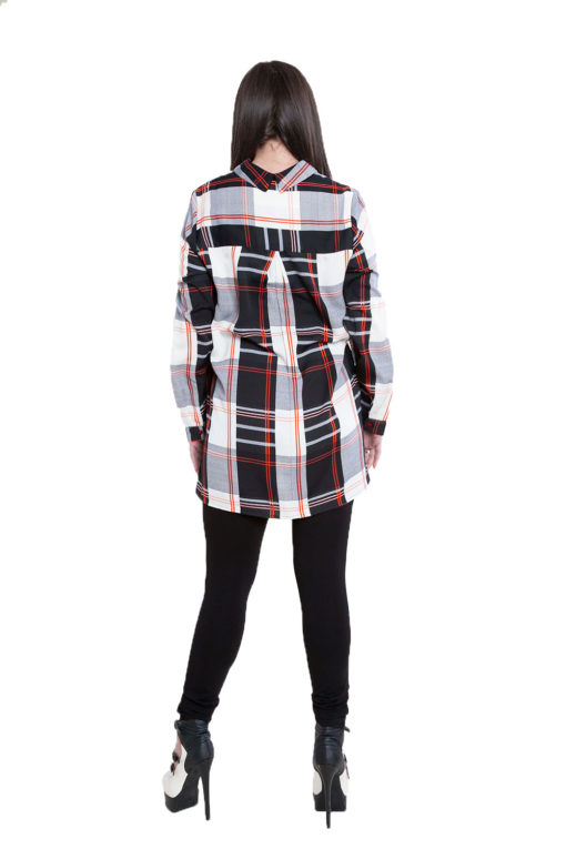 black plaid zip front top- back