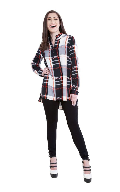 black plaid zip front top- front