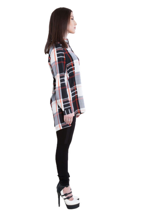 black plaid zip front top- side