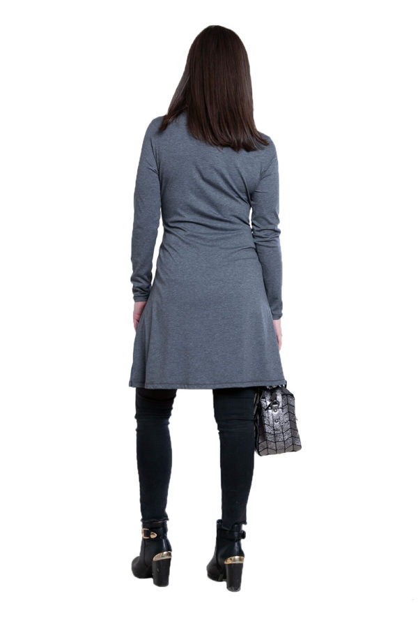 grey tie front dress- back