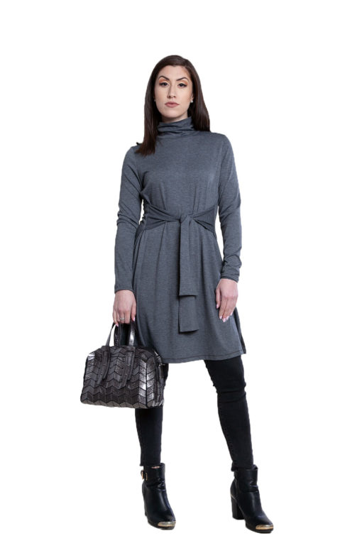 grey tie front dress- front
