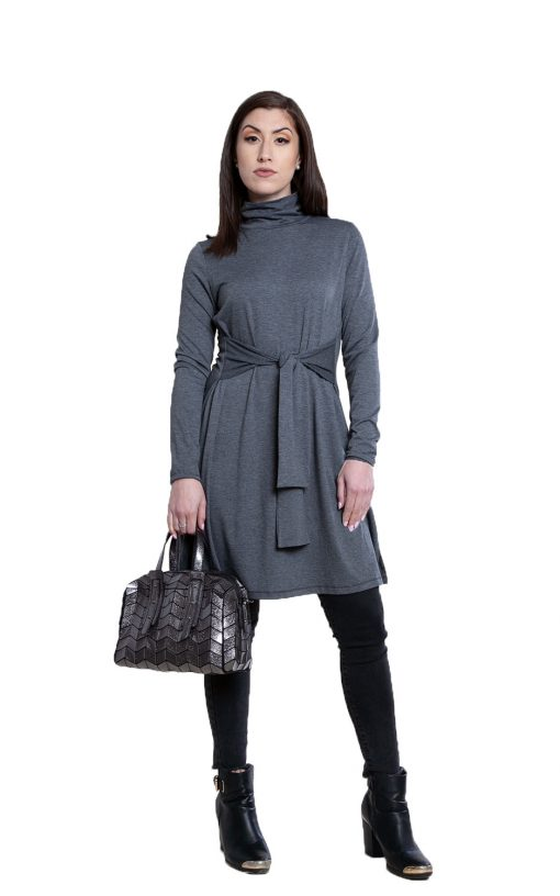grey tie front dress- front