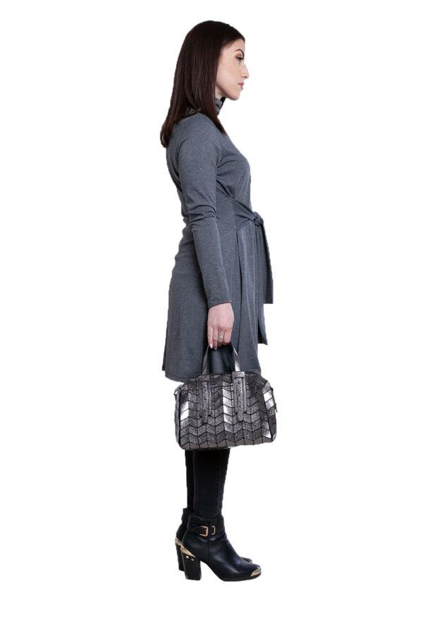grey tie front dress- side