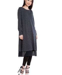 long sleeve mid length grey dress- side