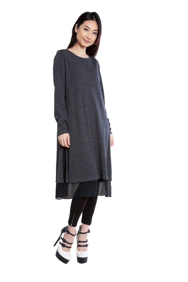 long sleeve mid length grey dress- side