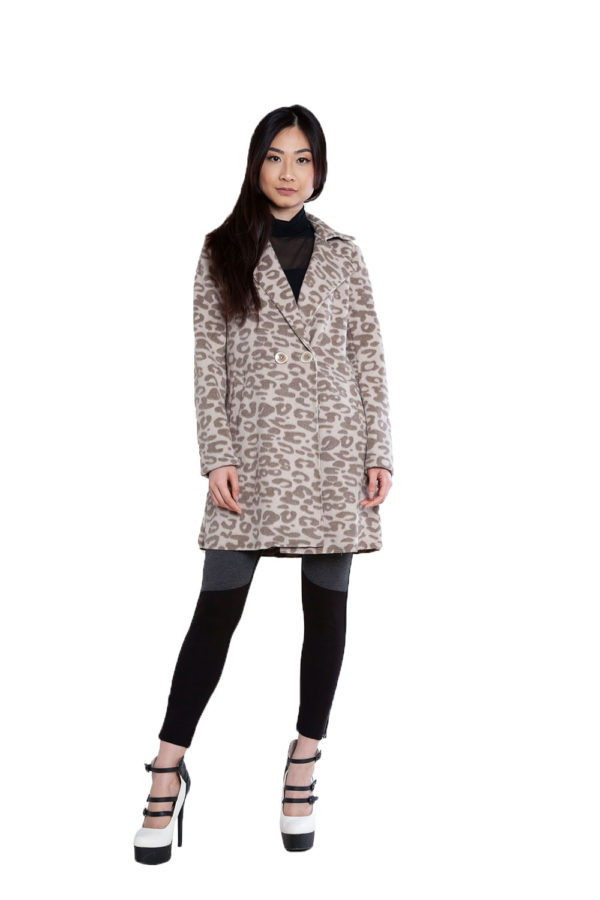 leopard printed brown jacket- front