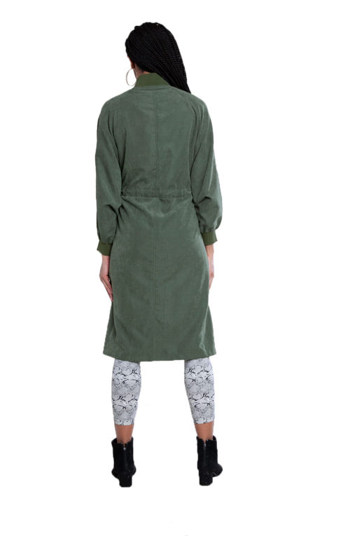 oversized belted green jacket- back