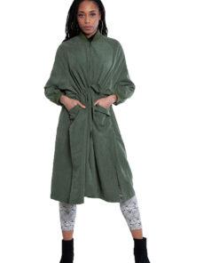 oversized belted green jacket- front