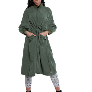 oversized belted green jacket- front