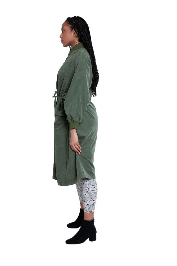 oversized belted green jacket- side