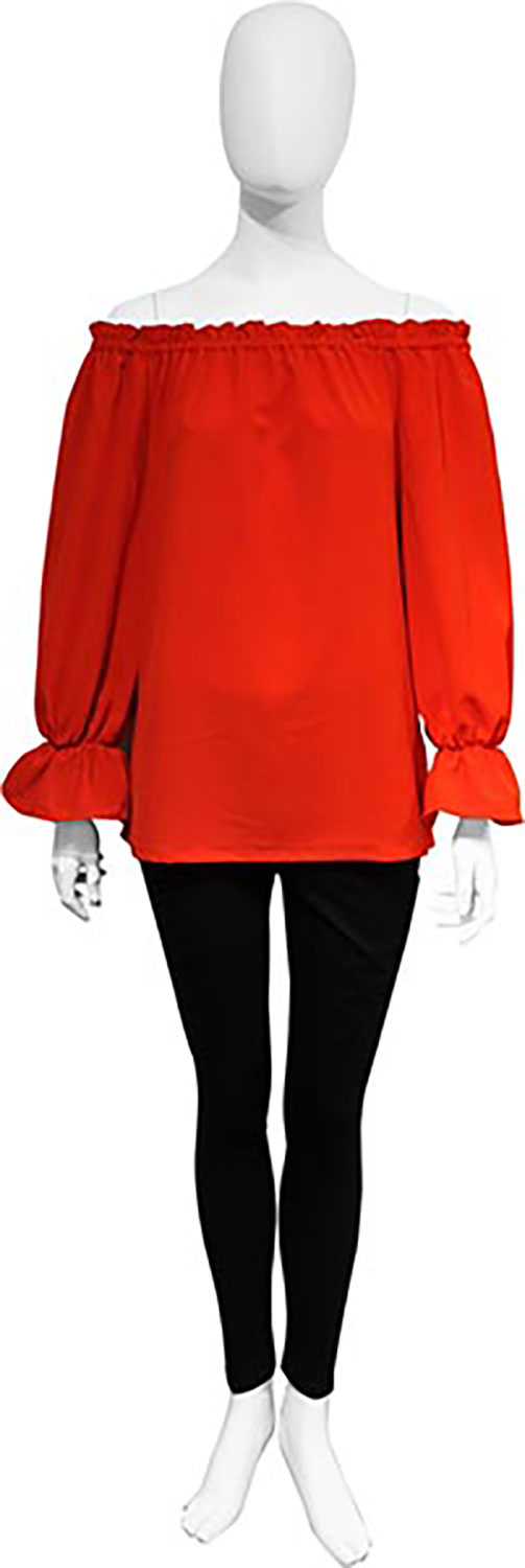 red bardot top- front
