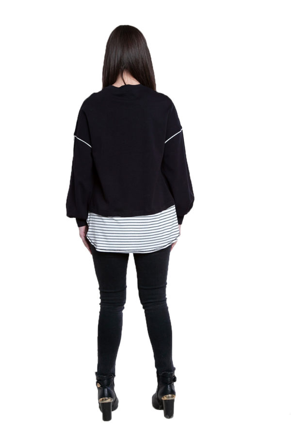 black knit sweater top- back