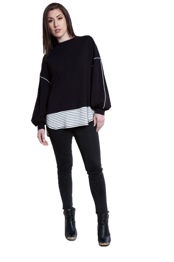 black knit sweater top- front