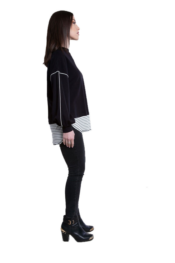 black knit sweater top- side
