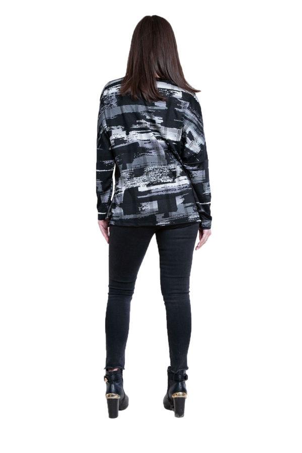 black and grey printed top- back