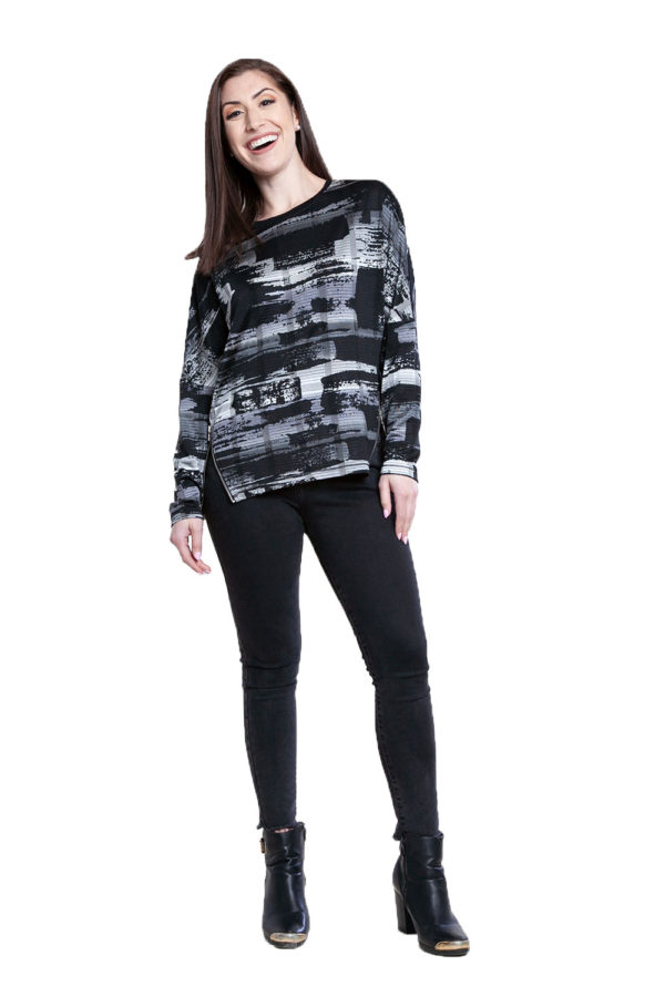 black and grey printed top- front