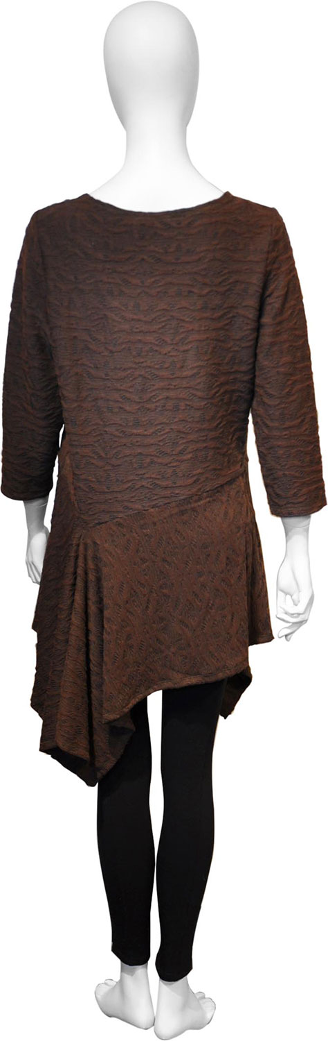 brown button front tunic top- back