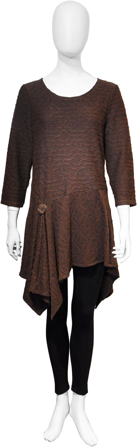brown button front tunic top- front