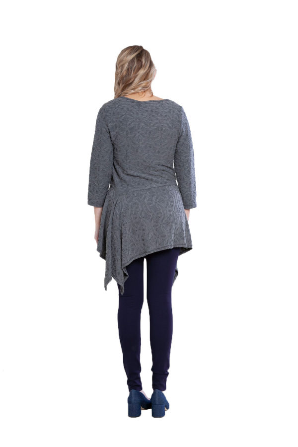 grey button detail tunic top- back