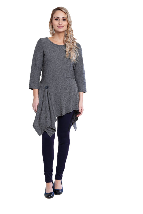 grey button detail tunic top- front