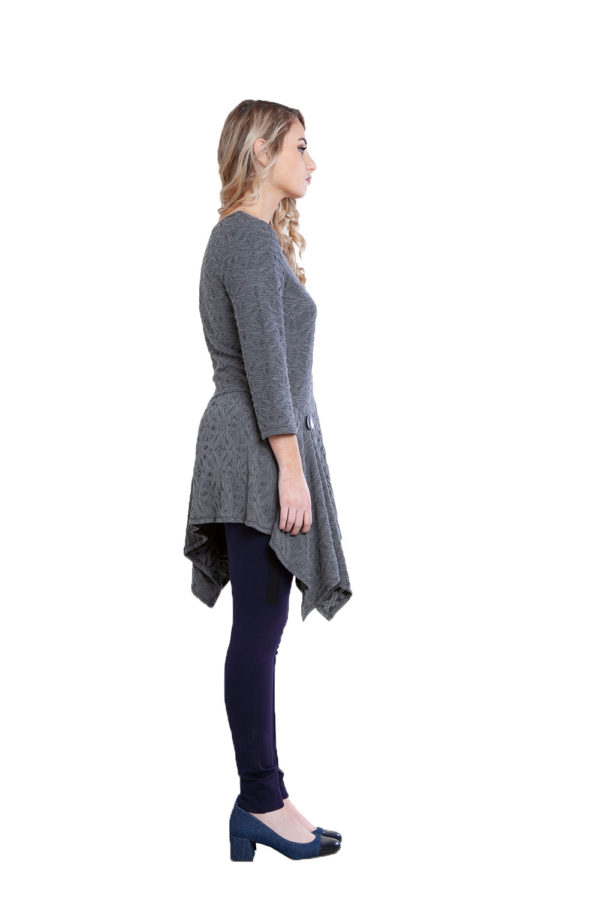 grey button detail tunic top- side