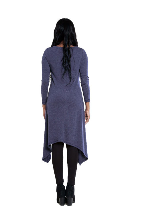 navy high low cut out tunic top- back