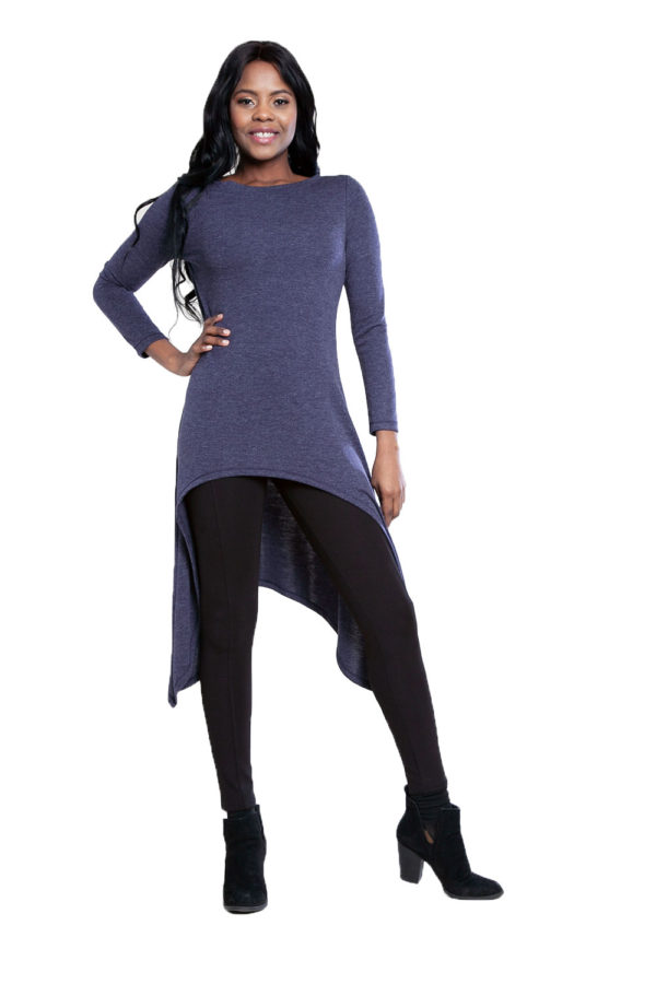 navy high low cut out tunic top- front