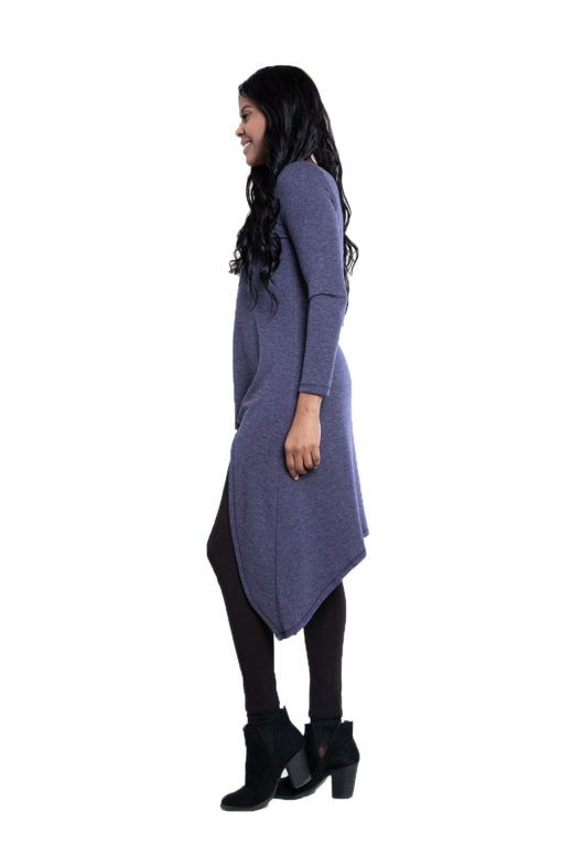 navy high low cut out tunic top- side