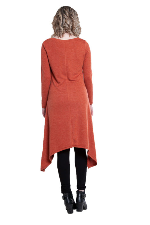 rust high low cut out tunic top- back
