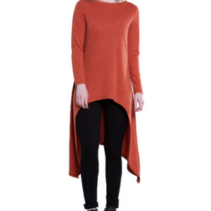 rust high low cut out tunic top- front