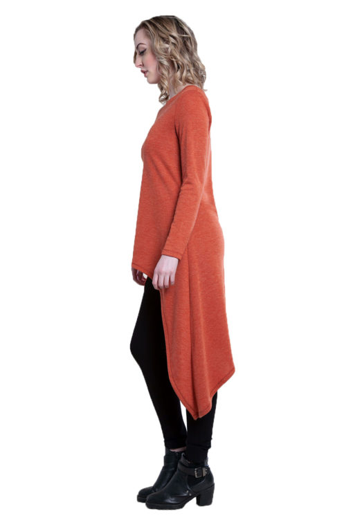 rust high low cut out tunic top- side