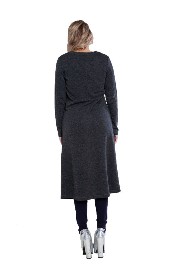 zip front charcoal tunic top- back