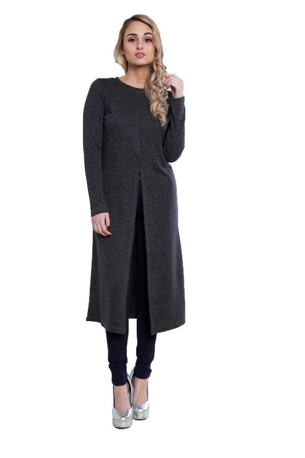 zip front charcoal tunic top- front