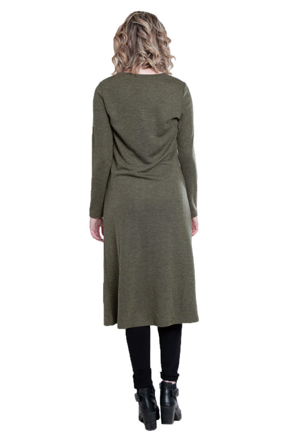 zip front olive tunic top- back