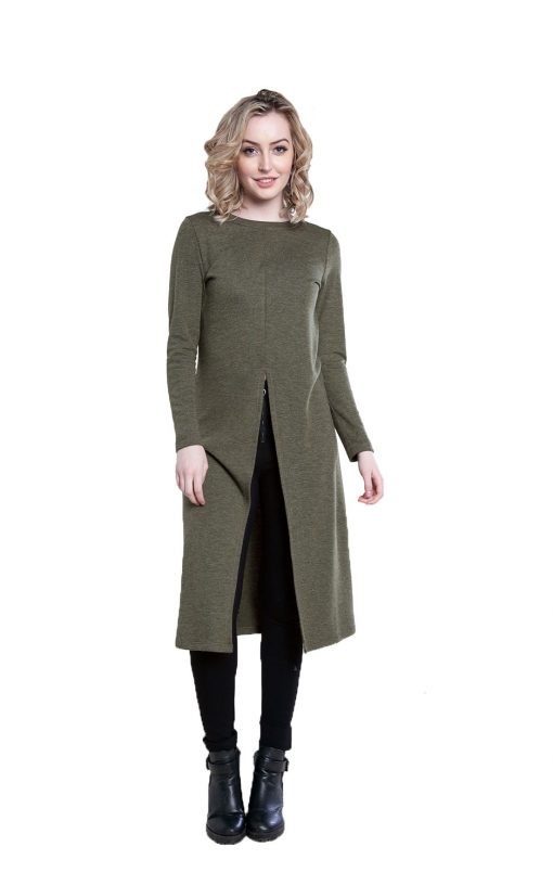 zip front olive tunic top- front