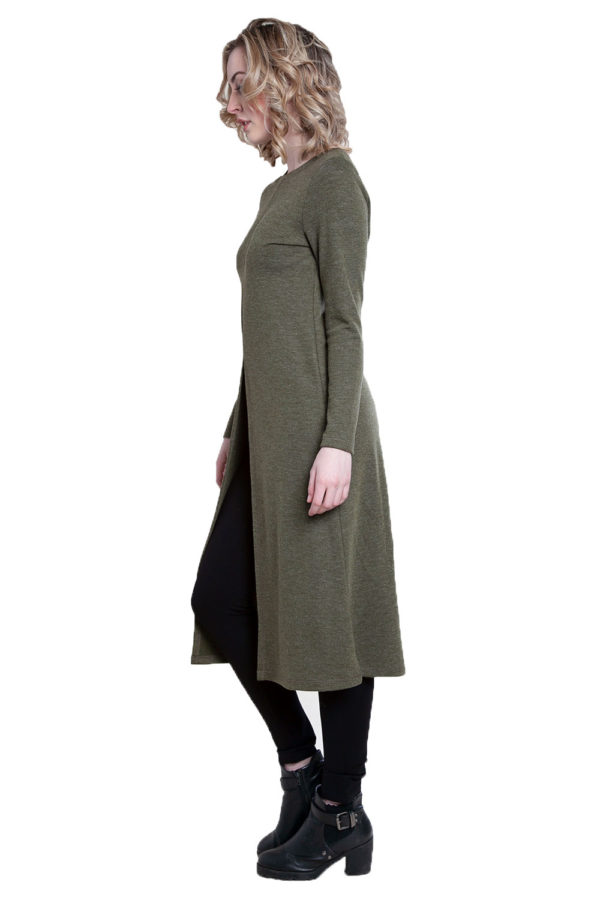 zip front olive tunic top- side