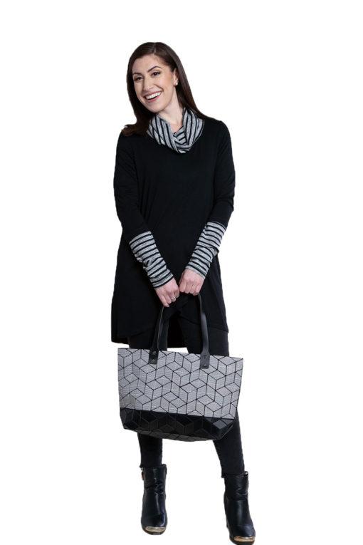 black striped cowl neck tunic- front